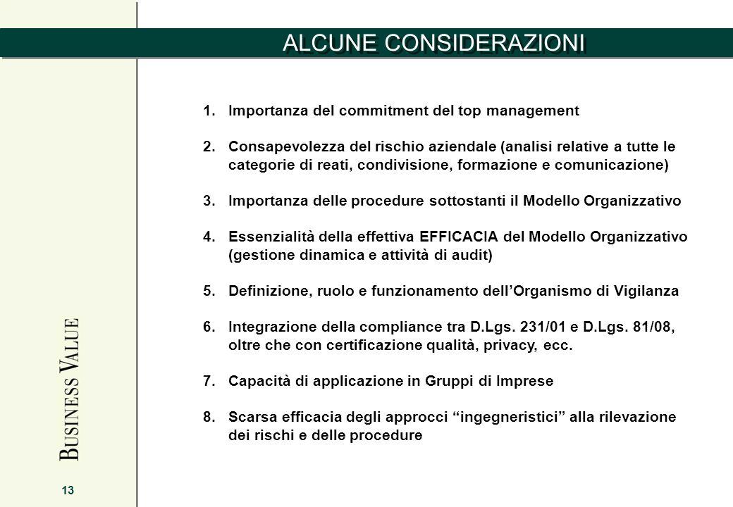 ALCUNE CONSIDERAZIONI 13 1.Importanza del commitment del top management 2.Consapevolezza del rischio aziendale (analisi relative a tutte le categorie