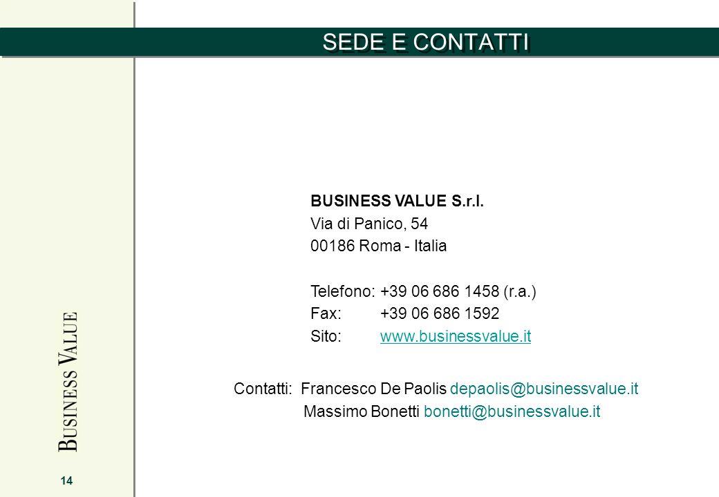 SEDE E CONTATTI 14 BUSINESS VALUE S.r.l. Via di Panico, 54 00186 Roma - Italia Telefono:+39 06 686 1458 (r.a.) Fax: +39 06 686 1592 Sito:www.businessv