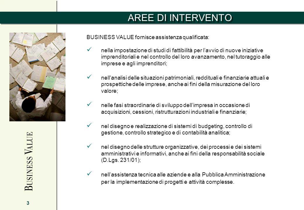 AREE DI INTERVENTO 3 BUSINESS VALUE fornisce assistenza qualificata: nella impostazione di studi di fattibilità per lavvio di nuove iniziative imprend