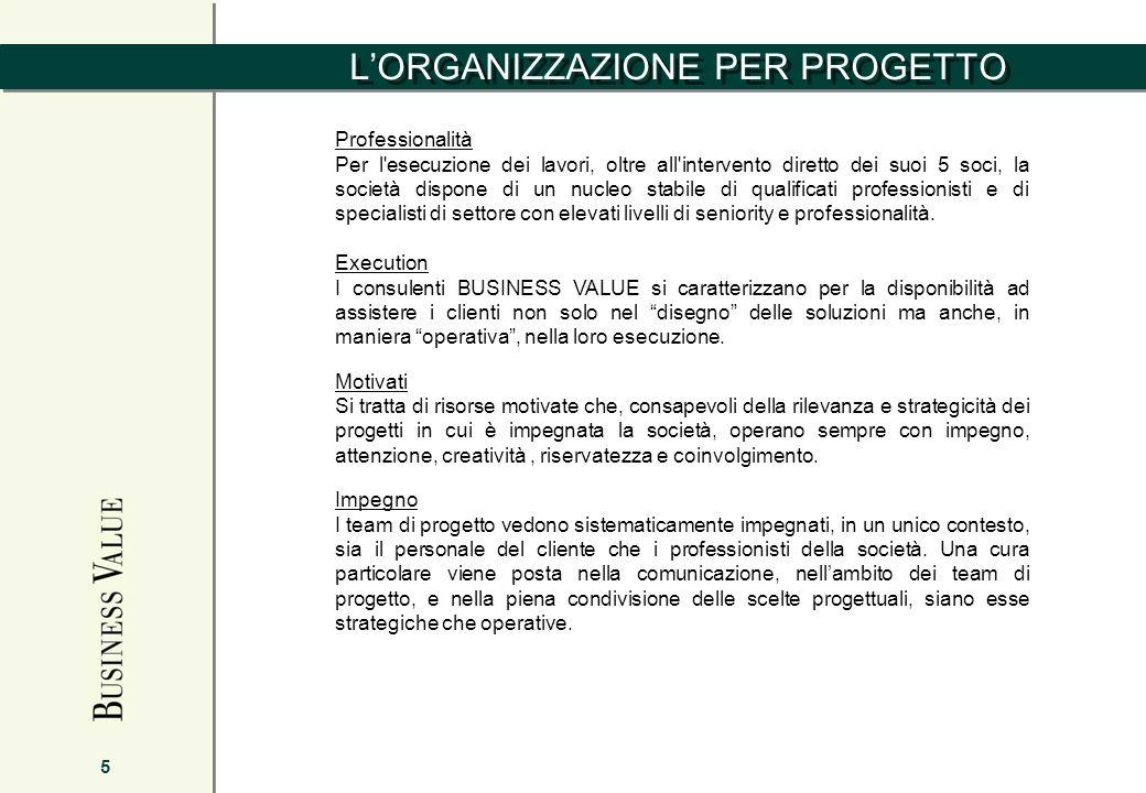 LORGANIZZAZIONE PER PROGETTO 5 Professionalità Per l'esecuzione dei lavori, oltre all'intervento diretto dei suoi 5 soci, la società dispone di un nuc