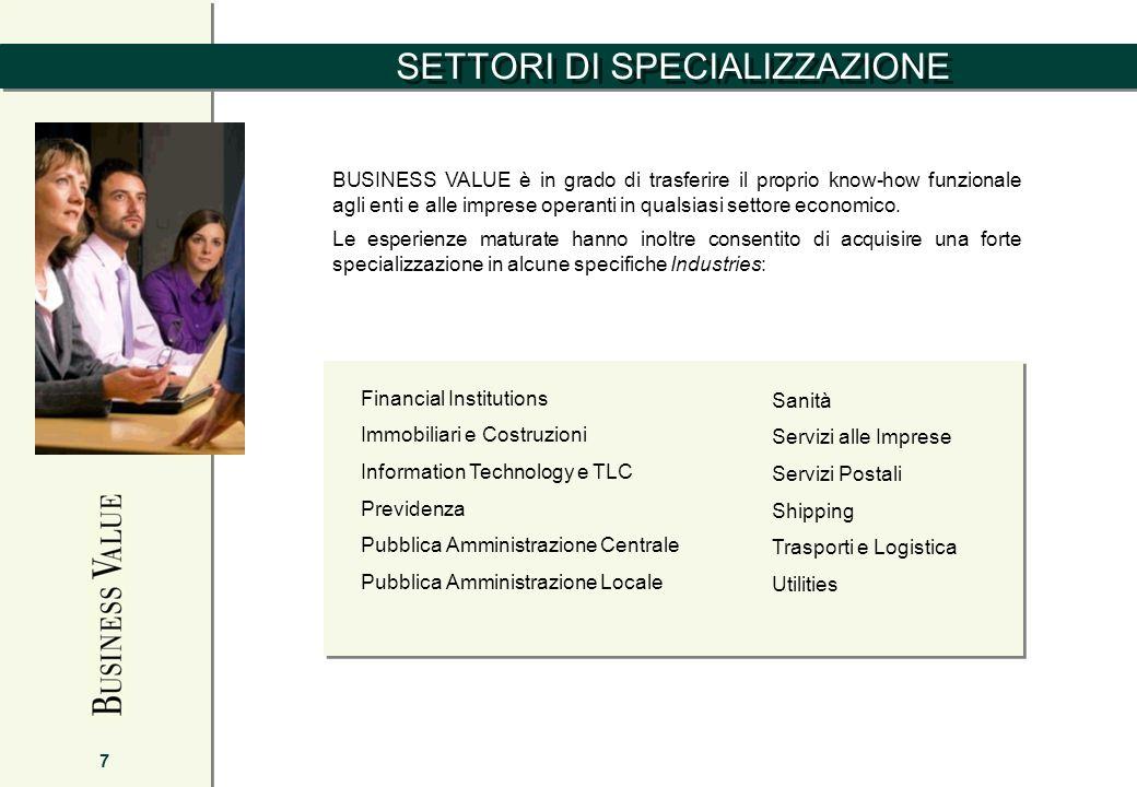 SETTORI DI SPECIALIZZAZIONE 7 BUSINESS VALUE è in grado di trasferire il proprio know-how funzionale agli enti e alle imprese operanti in qualsiasi se