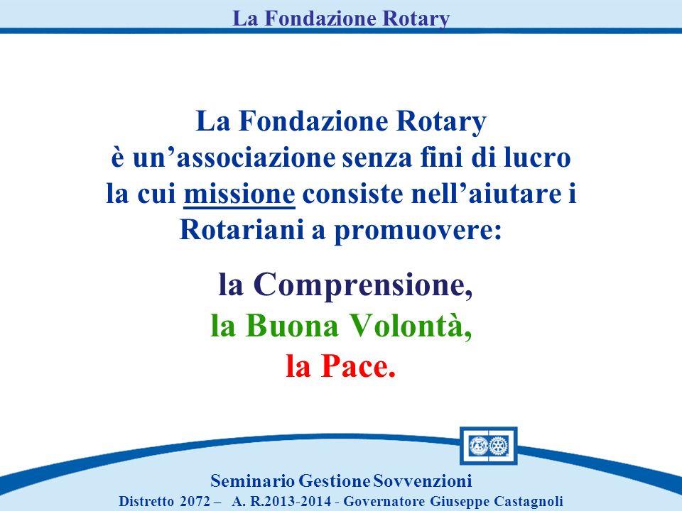 La Fondazione Rotary è unassociazione senza fini di lucro la cui missione consiste nellaiutare i Rotariani a promuovere: la Comprensione, la Buona Volontà, la Pace.