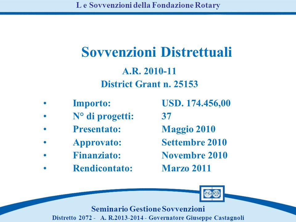 A.R. 2010-11 District Grant n. 25153 Importo:USD.