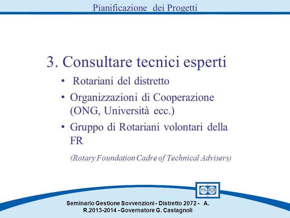 3. Consultare tecnici esperti Rotariani del distretto Organizzazioni di Cooperazione (ONG, Università ecc.) Gruppo di Rotariani volontari della FR (Ro