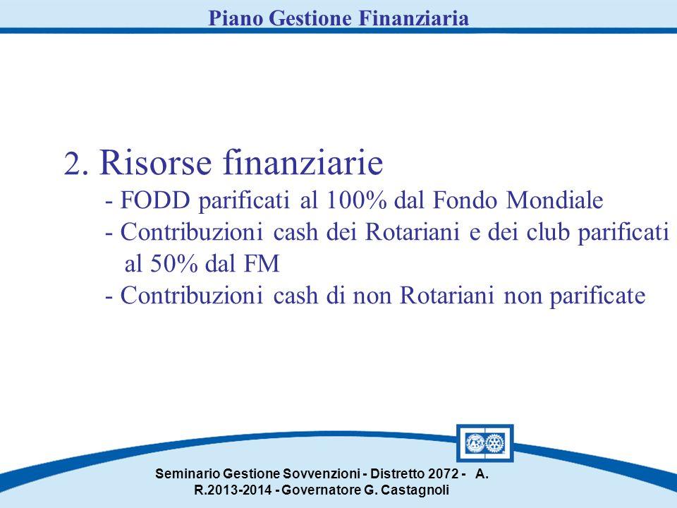 2. Risorse finanziarie - FODD parificati al 100% dal Fondo Mondiale - Contribuzioni cash dei Rotariani e dei club parificati al 50% dal FM - Contribuz