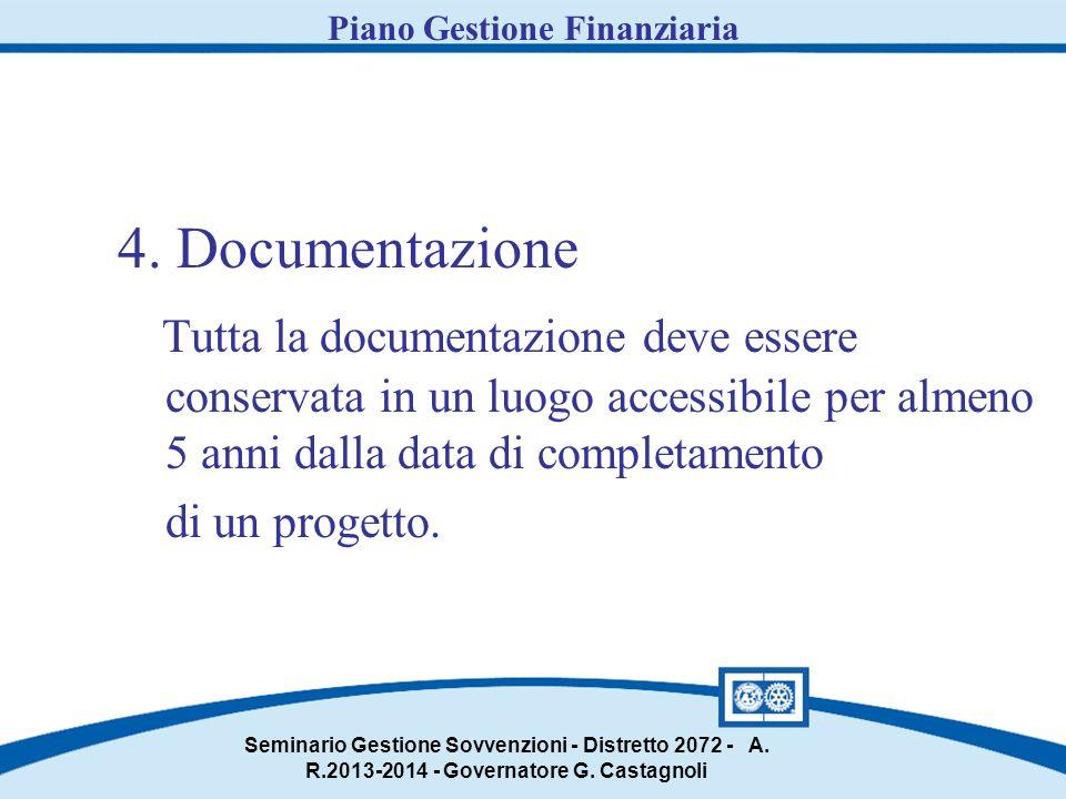 4. Documentazione Tutta la documentazione deve essere conservata in un luogo accessibile per almeno 5 anni dalla data di completamento di un progetto.