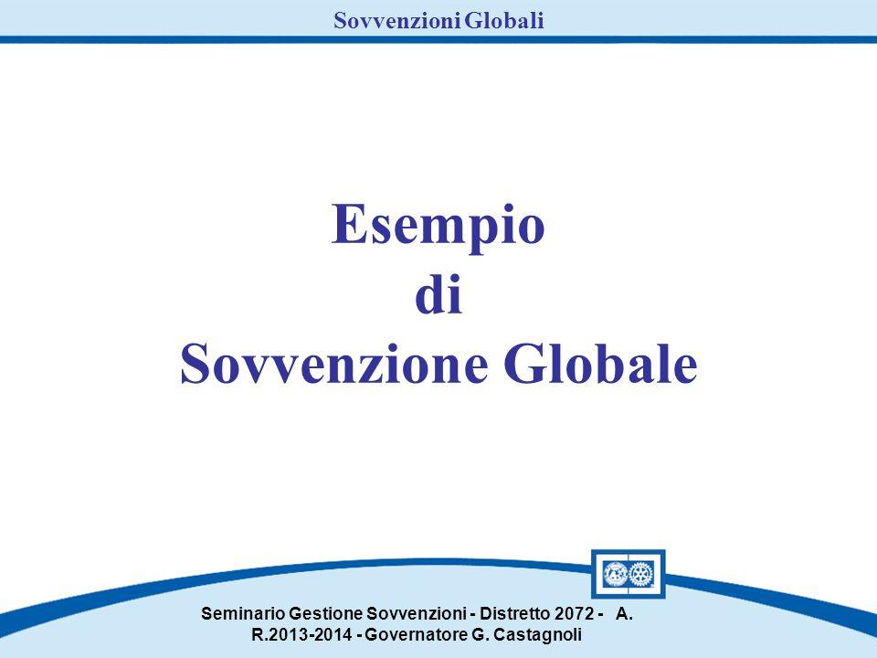 Esempio di Sovvenzione Globale Seminario Gestione Sovvenzioni - Distretto 2072 - A.