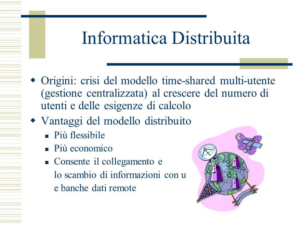 Informatica Distribuita Origini: crisi del modello time-shared multi-utente (gestione centralizzata) al crescere del numero di utenti e delle esigenze