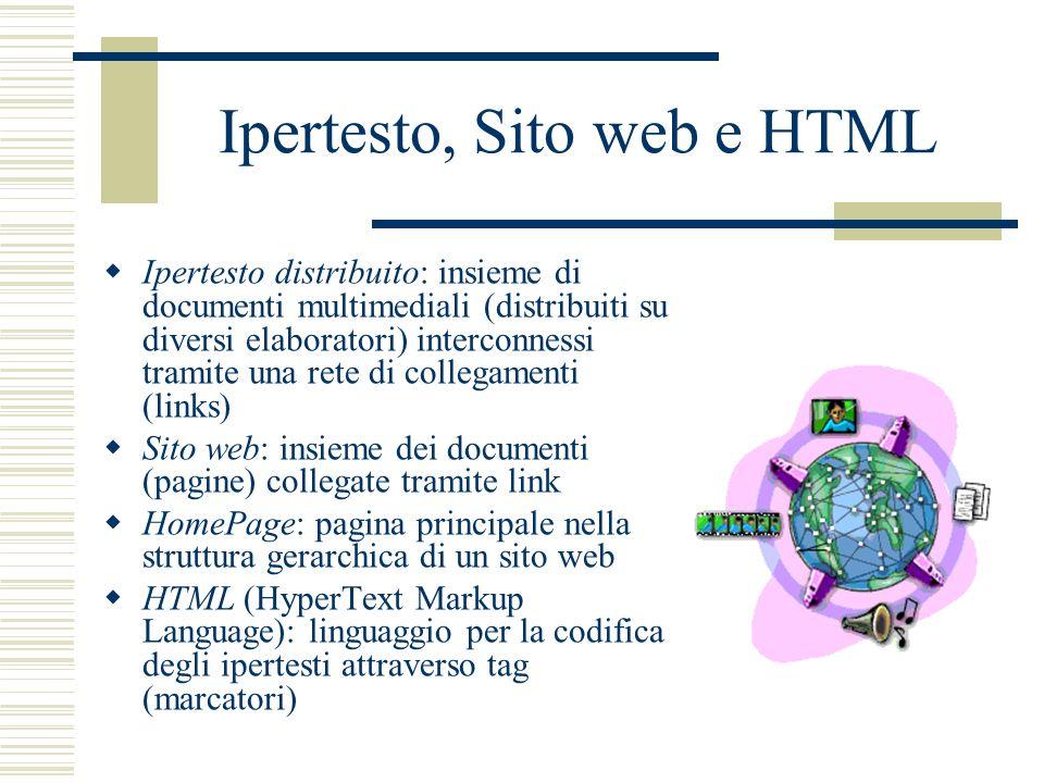 Ipertesto, Sito web e HTML Ipertesto distribuito: insieme di documenti multimediali (distribuiti su diversi elaboratori) interconnessi tramite una ret