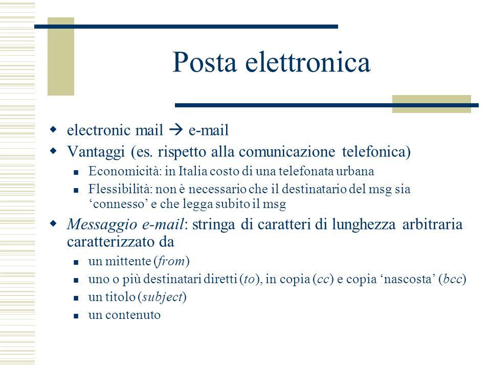 Posta elettronica electronic mail e-mail Vantaggi (es. rispetto alla comunicazione telefonica) Economicità: in Italia costo di una telefonata urbana F