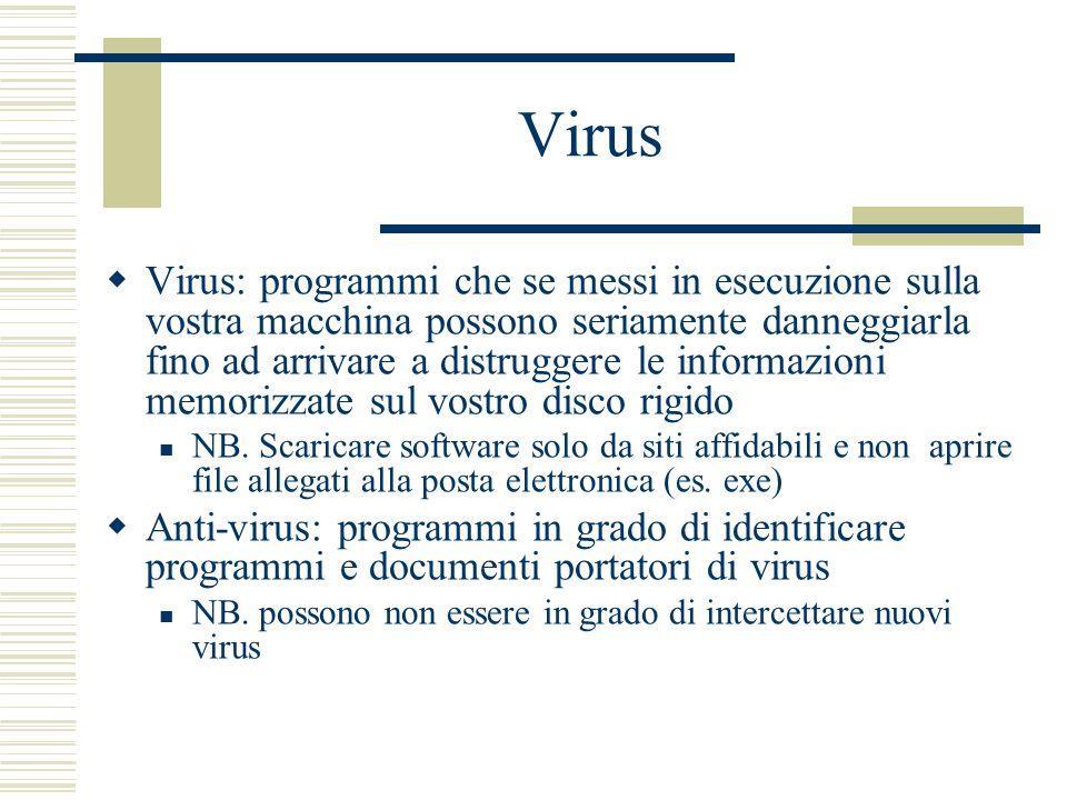 Virus Virus: programmi che se messi in esecuzione sulla vostra macchina possono seriamente danneggiarla fino ad arrivare a distruggere le informazioni memorizzate sul vostro disco rigido NB.