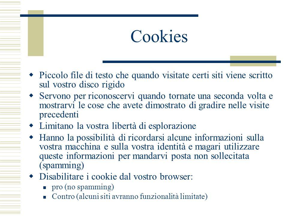 Cookies Piccolo file di testo che quando visitate certi siti viene scritto sul vostro disco rigido Servono per riconoscervi quando tornate una seconda