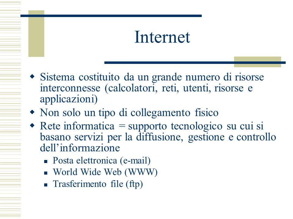 Internet Sistema costituito da un grande numero di risorse interconnesse (calcolatori, reti, utenti, risorse e applicazioni) Non solo un tipo di collegamento fisico Rete informatica = supporto tecnologico su cui si basano servizi per la diffusione, gestione e controllo dellinformazione Posta elettronica (e-mail) World Wide Web (WWW) Trasferimento file (ftp)