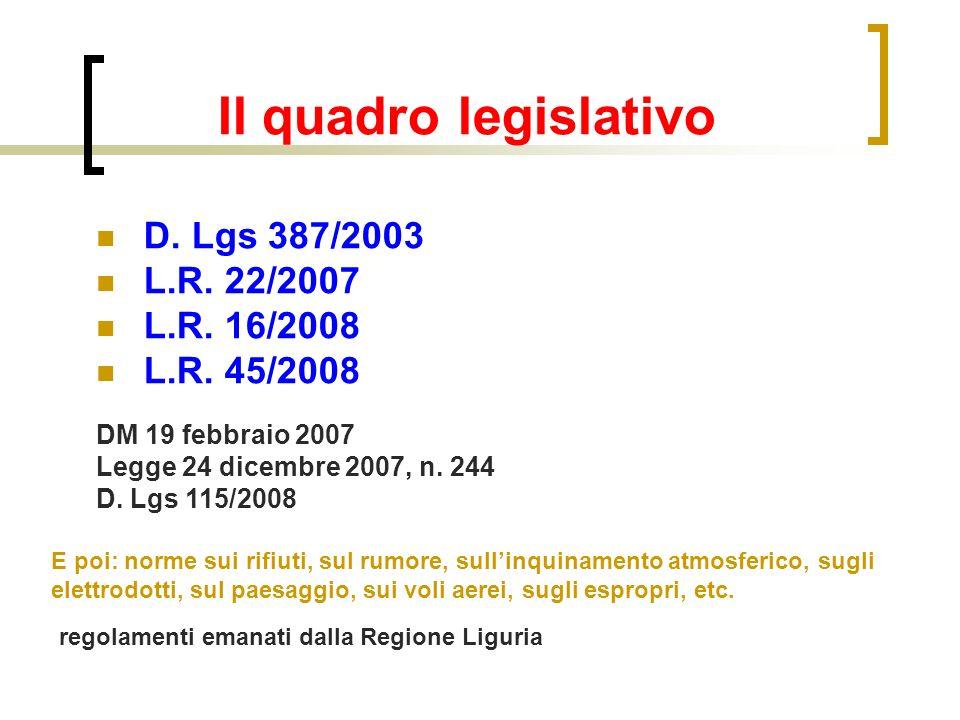Il quadro legislativo D. Lgs 387/2003 L.R. 22/2007 L.R.