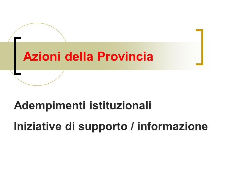 Azioni della Provincia Adempimenti istituzionali Iniziative di supporto / informazione
