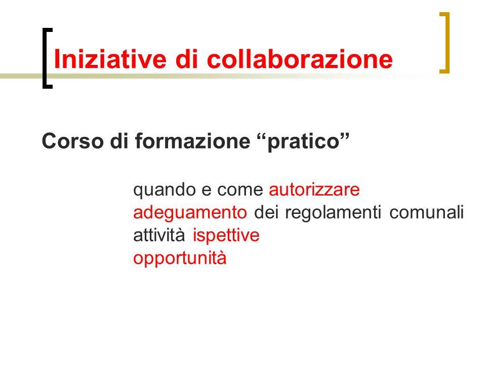 Iniziative di collaborazione Corso di formazione pratico quando e come autorizzare adeguamento dei regolamenti comunali attività ispettive opportunità