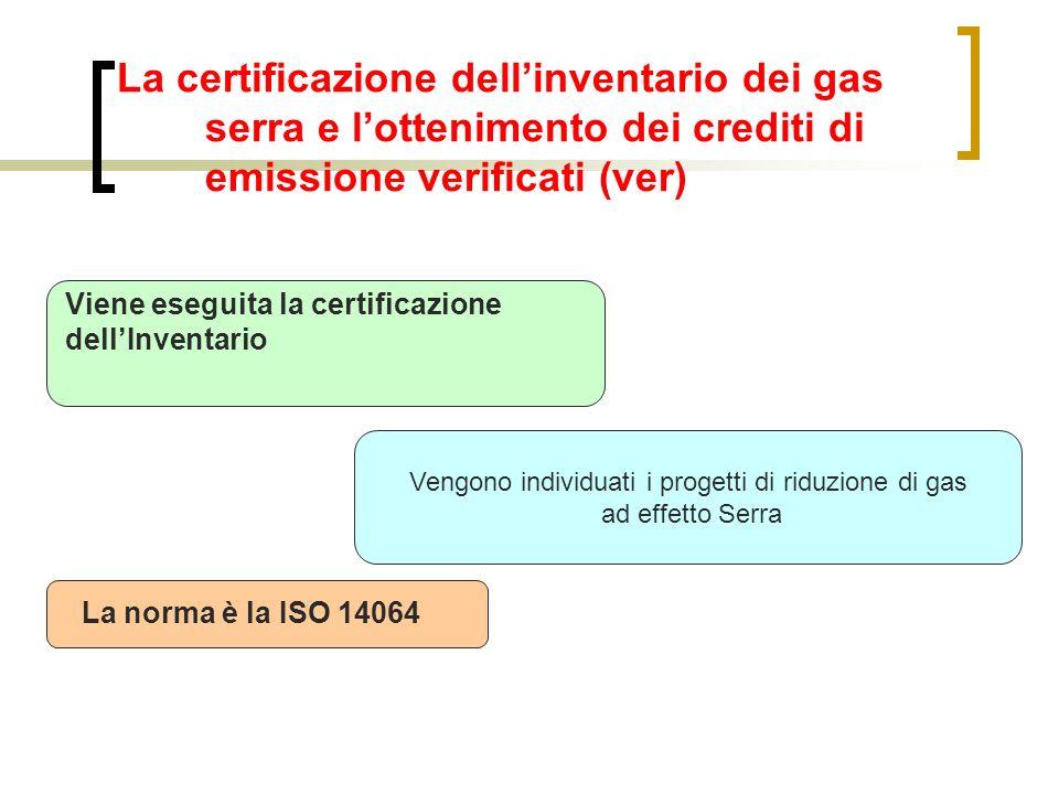 Vengono individuati i progetti di riduzione di gas ad effetto Serra La certificazione dellinventario dei gas serra e lottenimento dei crediti di emiss