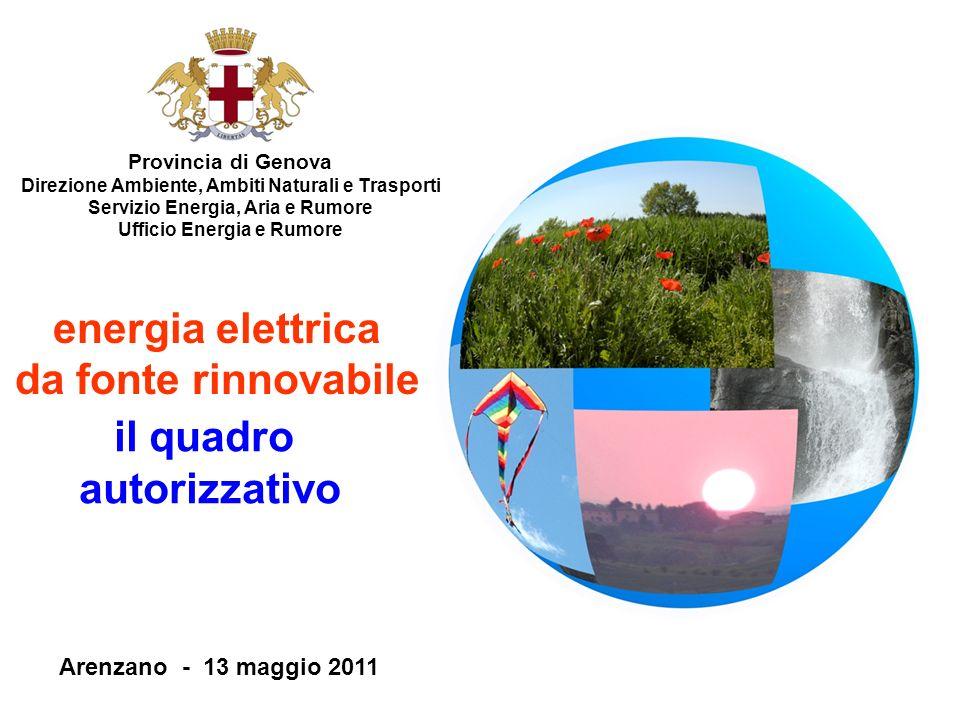Provincia di Genova Direzione Ambiente, Ambiti Naturali e Trasporti Servizio Energia, Aria e Rumore Ufficio Energia e Rumore Arenzano - 13 maggio 2011
