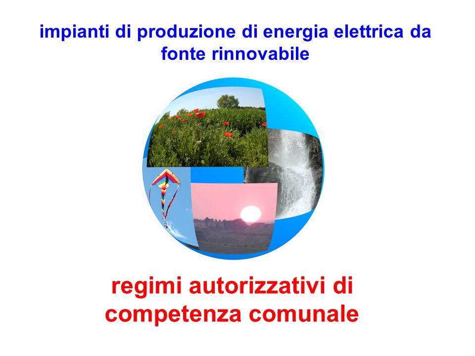 impianti di produzione di energia elettrica da fonte rinnovabile regimi autorizzativi di competenza comunale