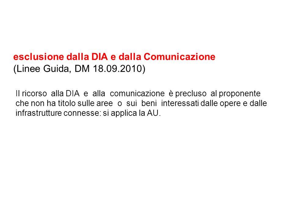 esclusione dalla DIA e dalla Comunicazione (Linee Guida, DM 18.09.2010) Il ricorso alla DIA e alla comunicazione è precluso al proponente che non ha t