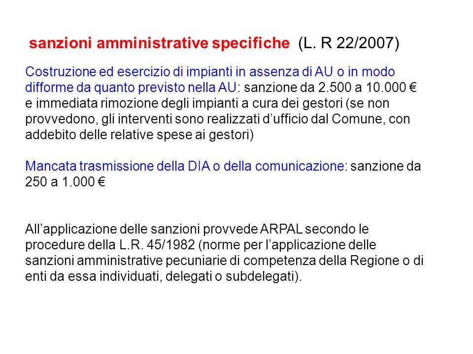 sanzioni amministrative specifiche (L. R 22/2007) Costruzione ed esercizio di impianti in assenza di AU o in modo difforme da quanto previsto nella AU