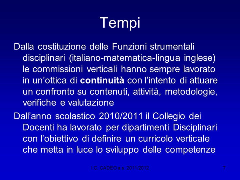 7 Tempi Dalla costituzione delle Funzioni strumentali disciplinari (italiano-matematica-lingua inglese) le commissioni verticali hanno sempre lavorato
