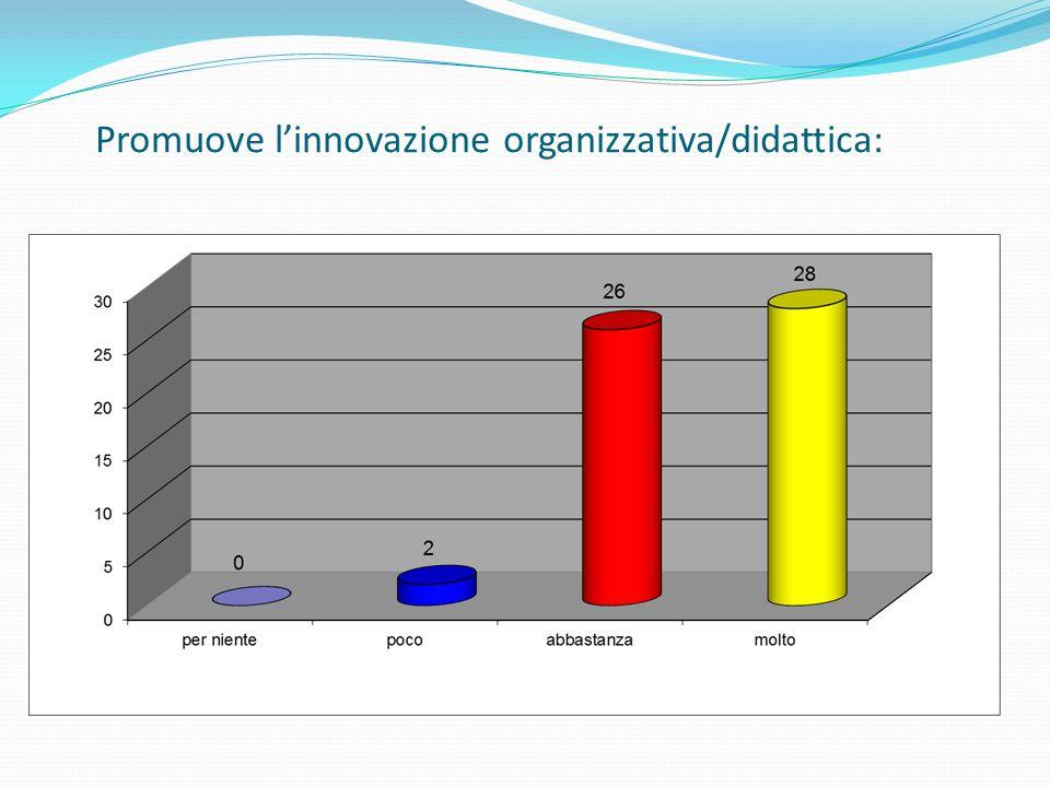 Promuove linnovazione organizzativa/didattica: