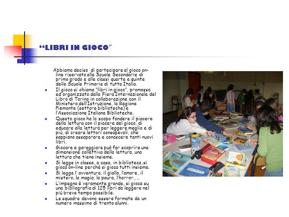 Abbiamo deciso di partecipare al gioco on- line riservato alle Scuole Secondarie di primo grado e alle classi quarte e quinte delle Scuole Primarie di tutta Italia.