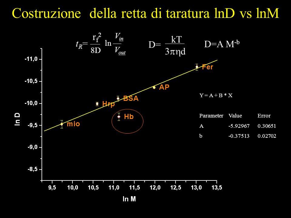 Y = A + B * X ParameterValueError A-5.929670.30651 b-0.375130.02702 Costruzione della retta di taratura lnD vs lnM t R = 8D ln V out V in D= kT 3 d rf2rf2 D=A M -b