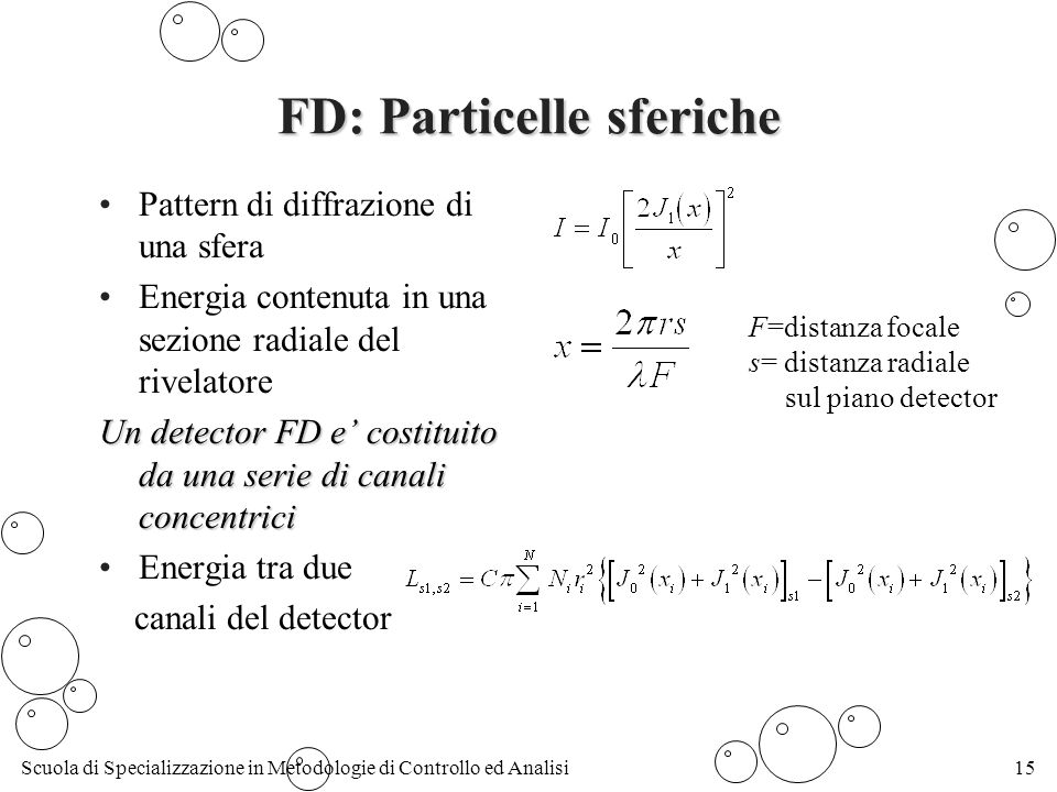 Scuola di Specializzazione in Metodologie di Controllo ed Analisi15 FD: Particelle sferiche Pattern di diffrazione di una sfera Energia contenuta in una sezione radiale del rivelatore Un detector FD e costituito da una serie di canali concentrici Energia tra due canali del detector F=distanza focale s= distanza radiale sul piano detector