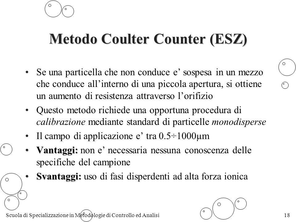 Scuola di Specializzazione in Metodologie di Controllo ed Analisi18 Metodo Coulter Counter (ESZ) Se una particella che non conduce e sospesa in un mezzo che conduce allinterno di una piccola apertura, si ottiene un aumento di resistenza attraverso lorifizio Questo metodo richiede una opportuna procedura di calibrazione mediante standard di particelle monodisperse Il campo di applicazione e tra 0.5÷1000µm Vantaggi:Vantaggi: non e necessaria nessuna conoscenza delle specifiche del campione Svantaggi:Svantaggi: uso di fasi disperdenti ad alta forza ionica