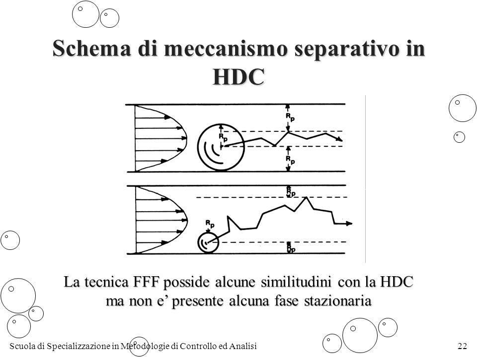 Scuola di Specializzazione in Metodologie di Controllo ed Analisi22 Schema di meccanismo separativo in HDC La tecnica FFF posside alcune similitudini con la HDC ma non e presente alcuna fase stazionaria