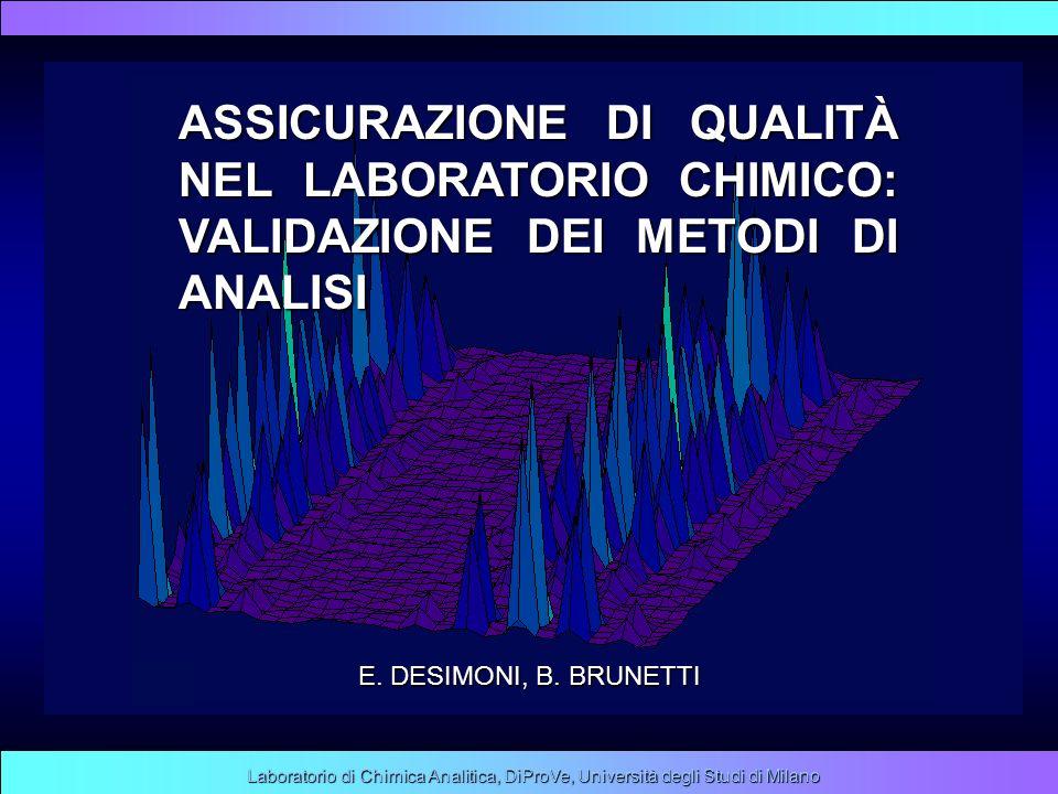 Laboratorio di Chimica Analitica, DiProVe, Università degli Studi di Milano ASSICURAZIONE DI QUALITÀ NEL LABORATORIO CHIMICO: VALIDAZIONE DEI METODI D