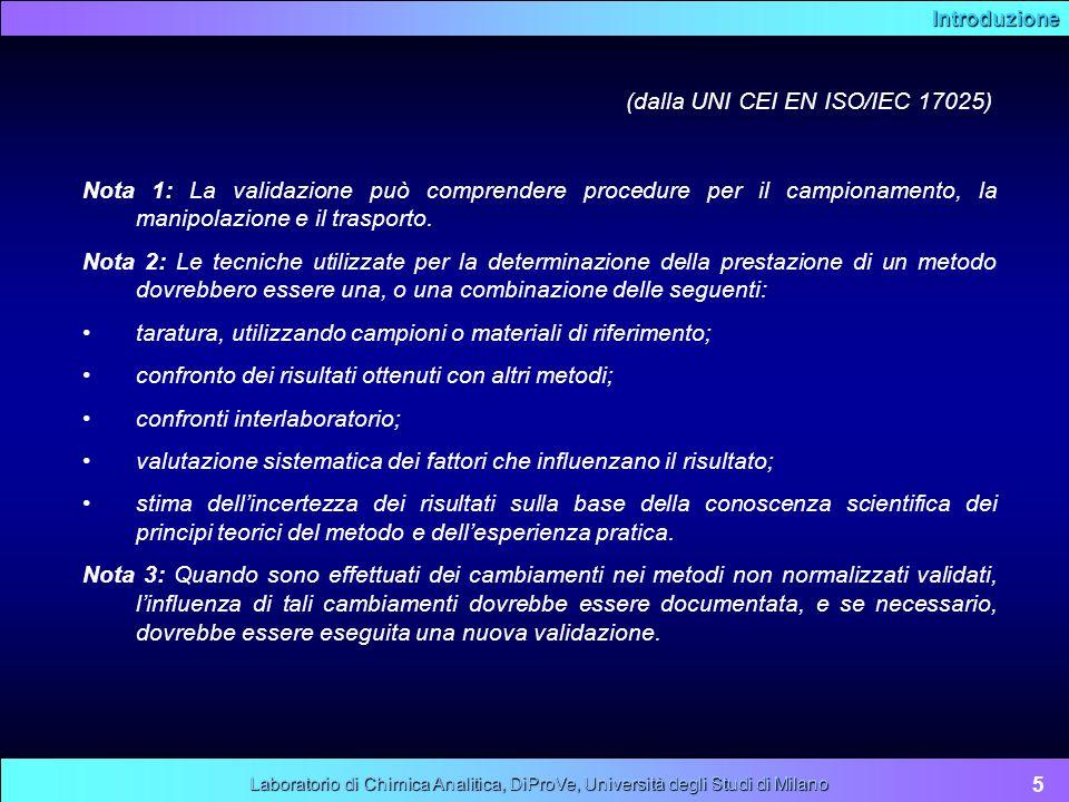 Introduzione 5 Laboratorio di Chimica Analitica, DiProVe, Università degli Studi di Milano Nota 1: La validazione può comprendere procedure per il cam