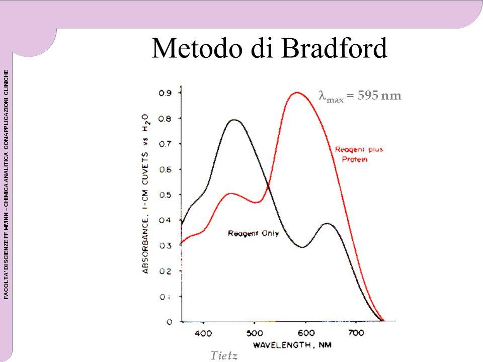 FACOLTA DI SCIENZE FF MM NN – CHIMICA ANALITICA CON APPLICAZIONI CLINICHE Metodo di Bradford Tietz max = 595 nm Tietz
