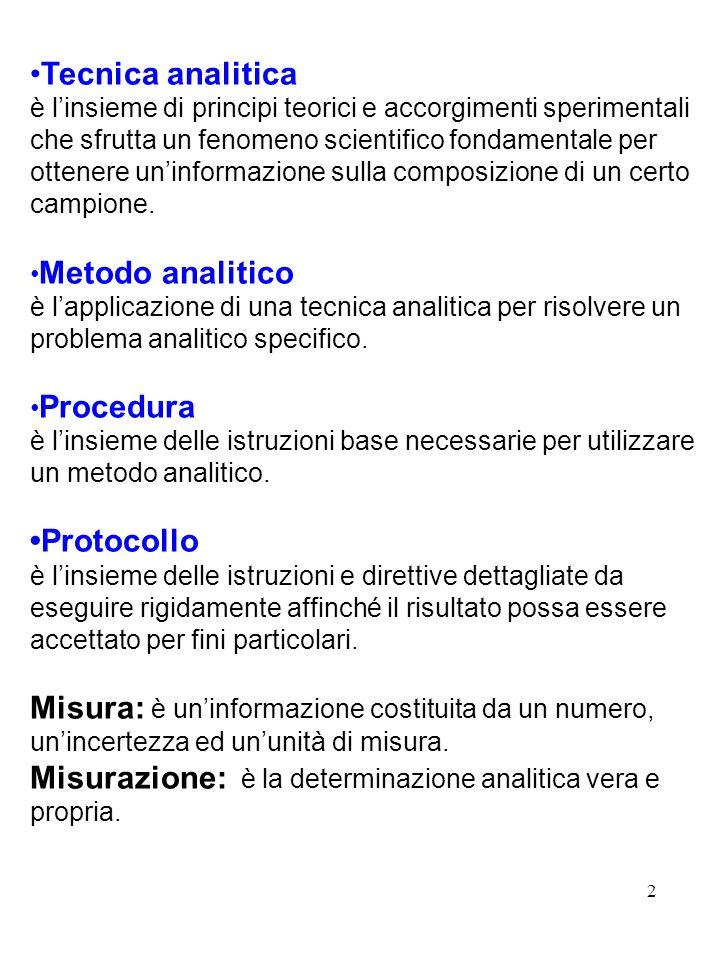 2 Tecnica analitica è linsieme di principi teorici e accorgimenti sperimentali che sfrutta un fenomeno scientifico fondamentale per ottenere uninforma
