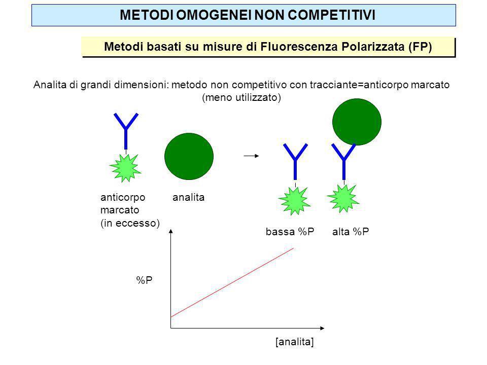 METODI OMOGENEI NON COMPETITIVI Metodi basati su misure di Fluorescenza Polarizzata (FP) Analita di grandi dimensioni: metodo non competitivo con trac