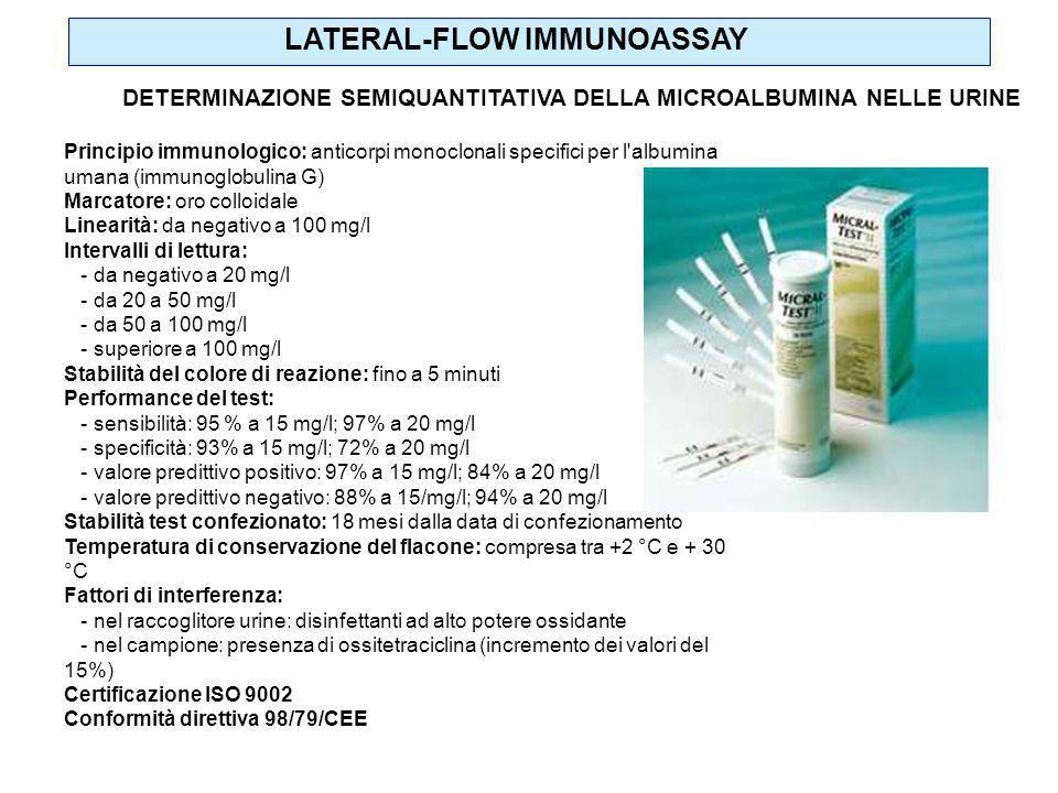 Principio immunologico: anticorpi monoclonali specifici per l'albumina umana (immunoglobulina G) Marcatore: oro colloidale Linearità: da negativo a 10