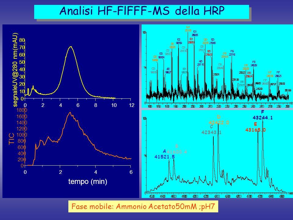 0246 0 200 400 600 800 1000 1200 1400 1600 1800 024681012 0 10 20 30 40 50 60 70 80 TIC tempo (min) segnaleUV@280 nm(mAU) Analisi HF-FlFFF-MS della HR