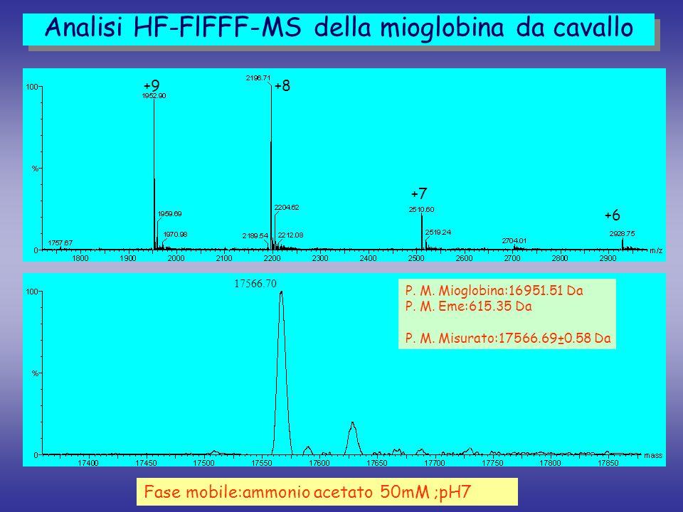 Fase mobile:ammonio acetato 50mM ;pH7 Analisi HF-FlFFF-MS della mioglobina da cavallo +9+8 +7 +6 17566.70 P. M. Mioglobina:16951.51 Da P. M. Eme:615.3