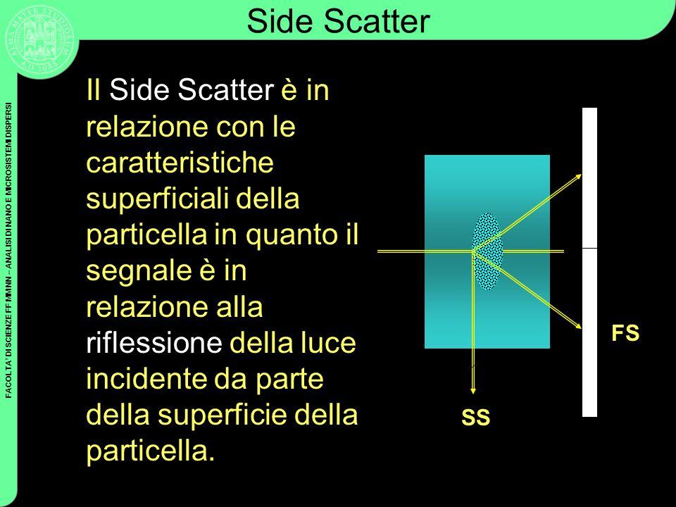 FACOLTA DI SCIENZE FF MM NN – ANALISI DI NANO E MICROSISTEMI DISPERSI Side Scatter Il Side Scatter è in relazione con le caratteristiche superficiali