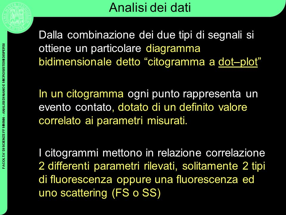 FACOLTA DI SCIENZE FF MM NN – ANALISI DI NANO E MICROSISTEMI DISPERSI Analisi dei dati Dalla combinazione dei due tipi di segnali si ottiene un partic