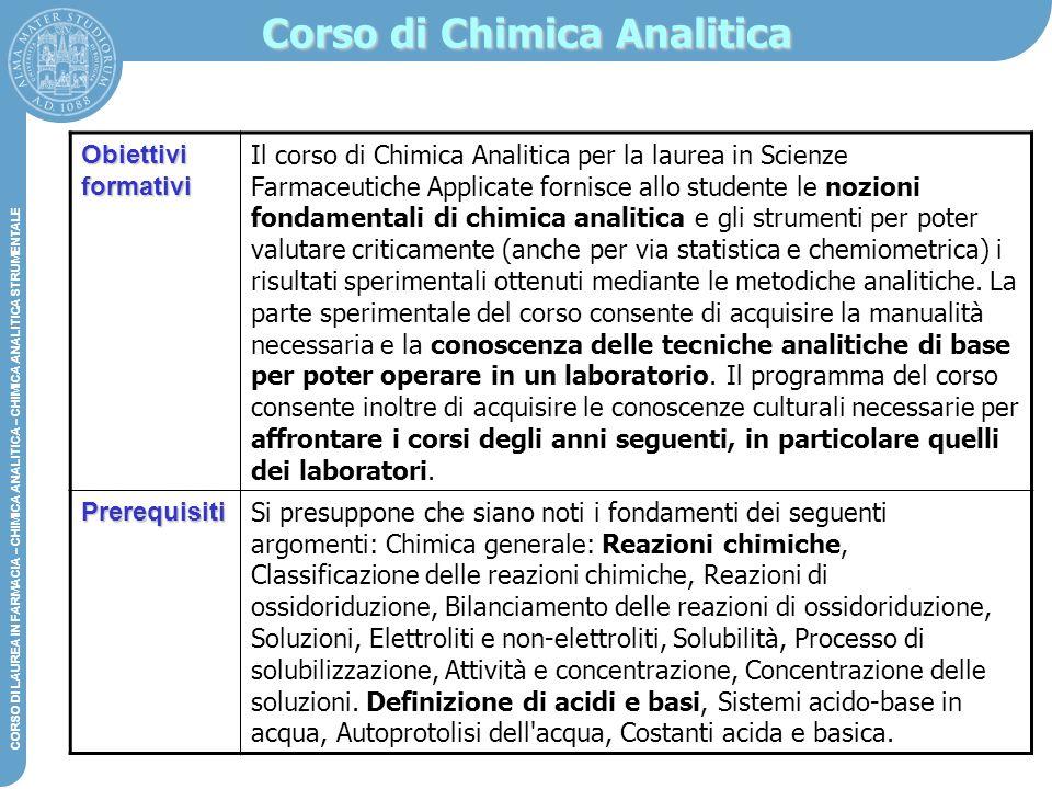 DIPARTIMENTO DI CHIMICA G. CIAMICIAN – CHIMICA ANALITICA STRUMENTALE CORSO DI LAUREA IN FARMACIA – CHIMICA ANALITICA – CHIMICA ANALITICA STRUMENTALE O
