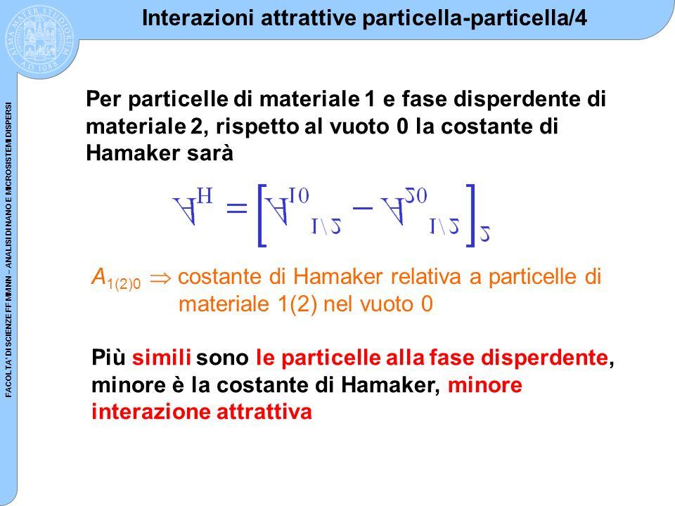 FACOLTA DI SCIENZE FF MM NN – ANALISI DI NANO E MICROSISTEMI DISPERSI Interazioni attrattive particella-particella/4 Per particelle di materiale 1 e f