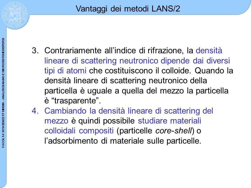 FACOLTA DI SCIENZE FF MM NN – ANALISI DI NANO E MICROSISTEMI DISPERSI 3.Contrariamente allindice di rifrazione, la densità lineare di scattering neutr