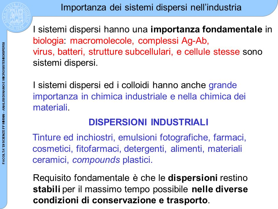 FACOLTA DI SCIENZE FF MM NN – ANALISI DI NANO E MICROSISTEMI DISPERSI Importanza dei sistemi dispersi nellindustria I sistemi dispersi hanno una impor
