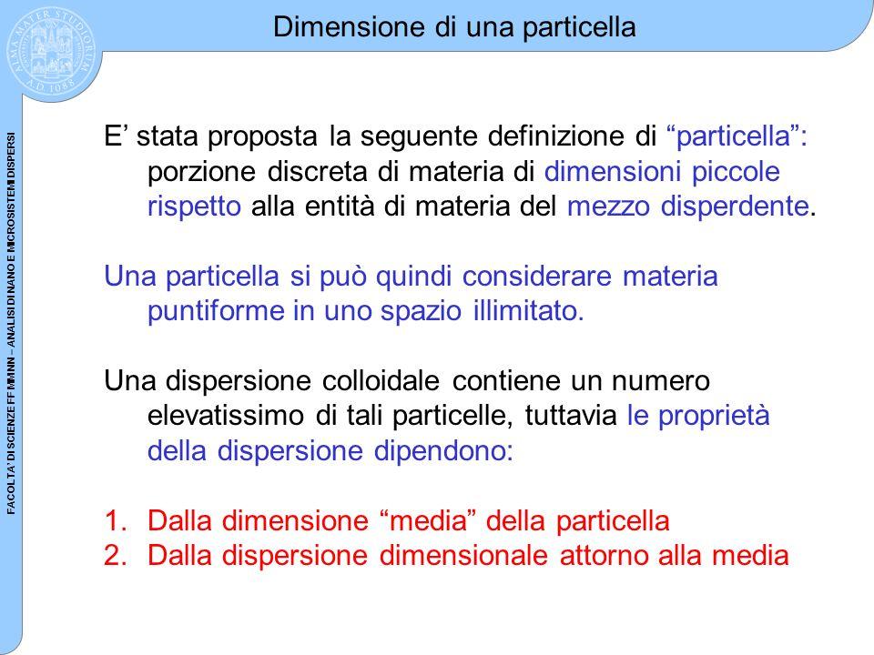 FACOLTA DI SCIENZE FF MM NN – ANALISI DI NANO E MICROSISTEMI DISPERSI Dimensione di una particella E stata proposta la seguente definizione di partice