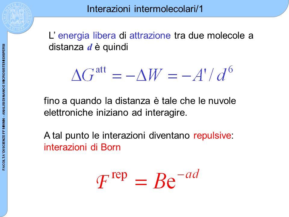 FACOLTA DI SCIENZE FF MM NN – ANALISI DI NANO E MICROSISTEMI DISPERSI Interazioni intermolecolari/1 L energia libera di attrazione tra due molecole a