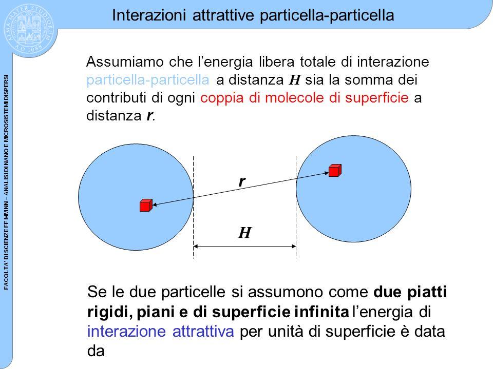FACOLTA DI SCIENZE FF MM NN – ANALISI DI NANO E MICROSISTEMI DISPERSI Interazioni attrattive particella-particella Assumiamo che lenergia libera total