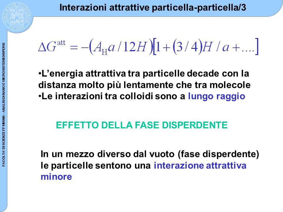 FACOLTA DI SCIENZE FF MM NN – ANALISI DI NANO E MICROSISTEMI DISPERSI Interazioni attrattive particella-particella/3 Lenergia attrattiva tra particell